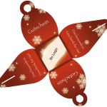 Weihnachtswichtel Gutschein rot Außenseite